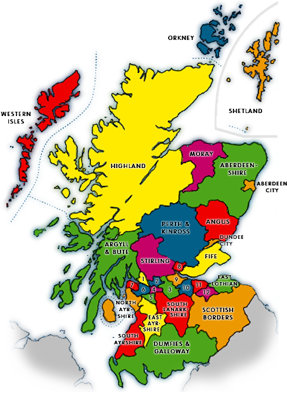 Scottish Local Council boundaries map