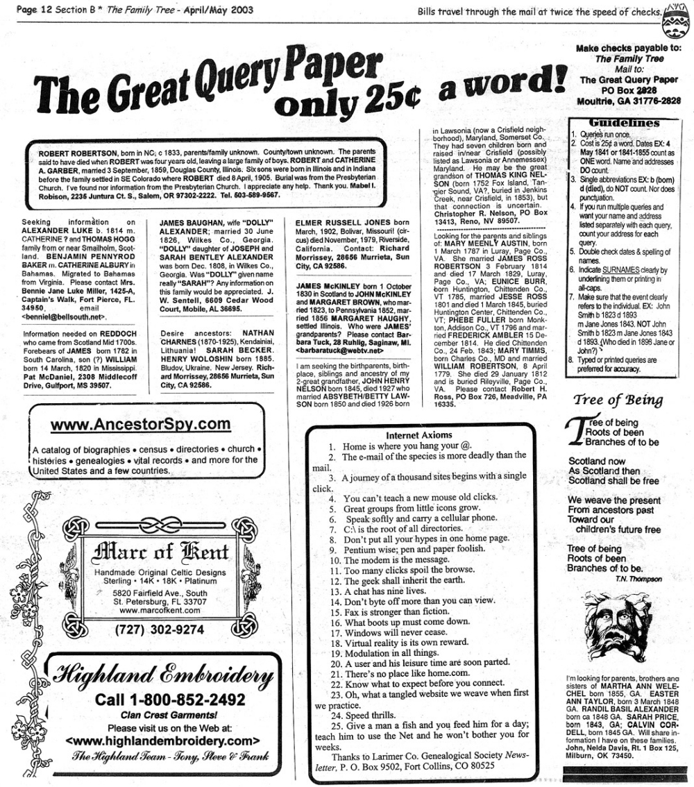Family Tree Newspaper April/May 2003 Issue