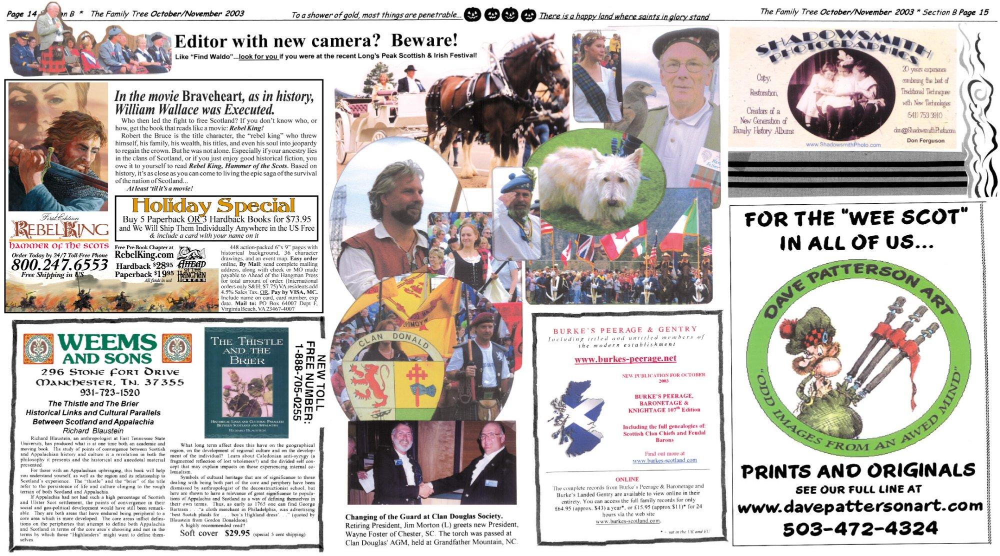 Family Tree Newspaper October/November 2003 Issue