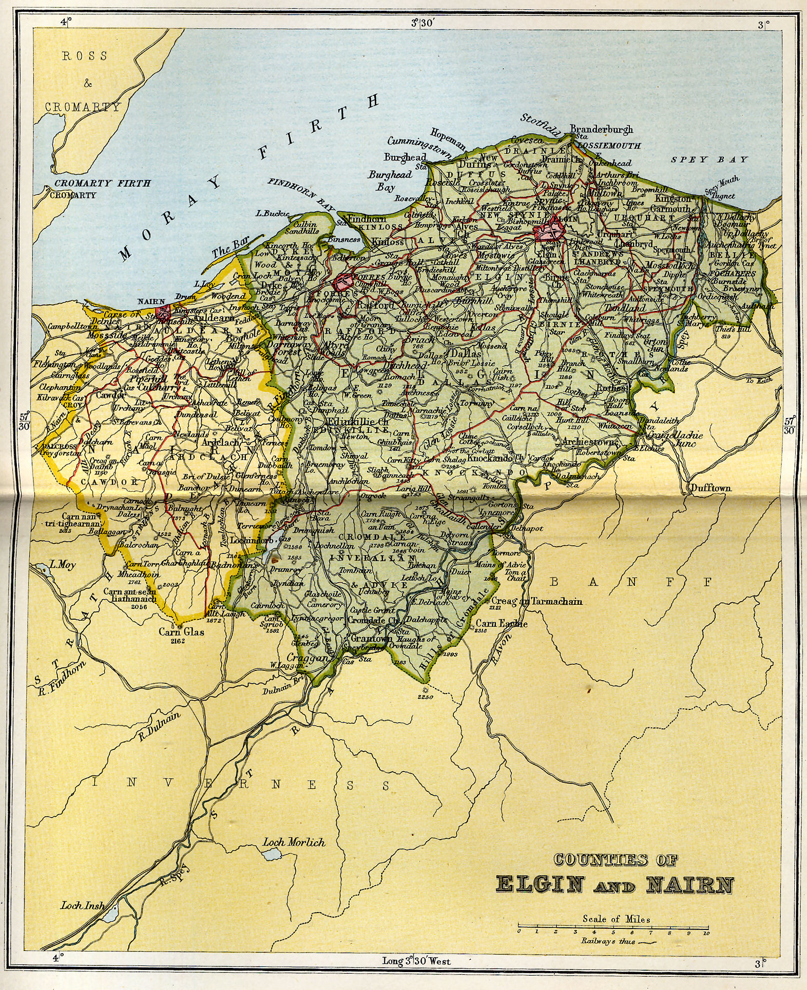 Nairn Scotland Map.Counties Of Elgin And Nairn Map