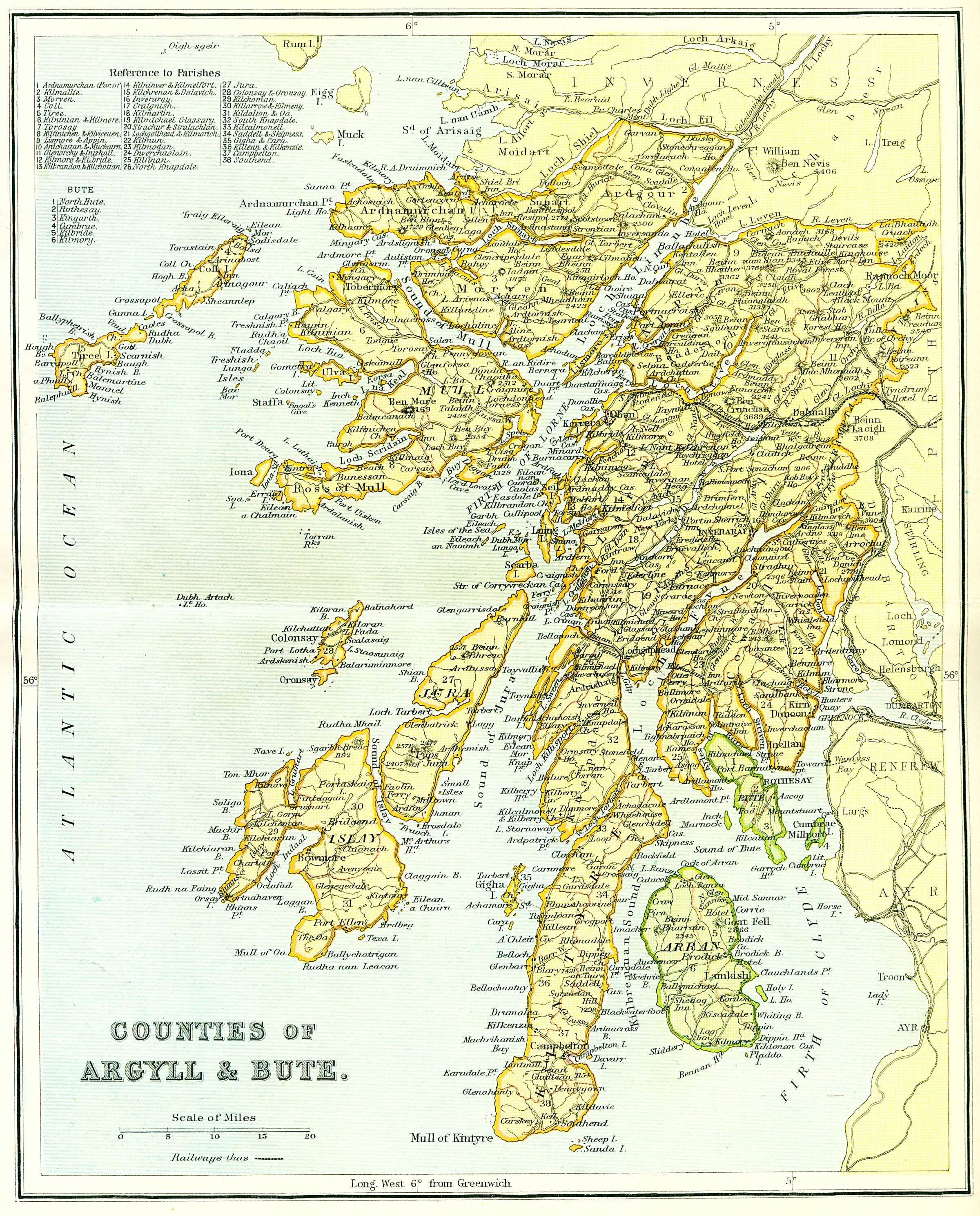 Ordnance Gazetteer of Scotland   Counties of Argyll & Bute Map