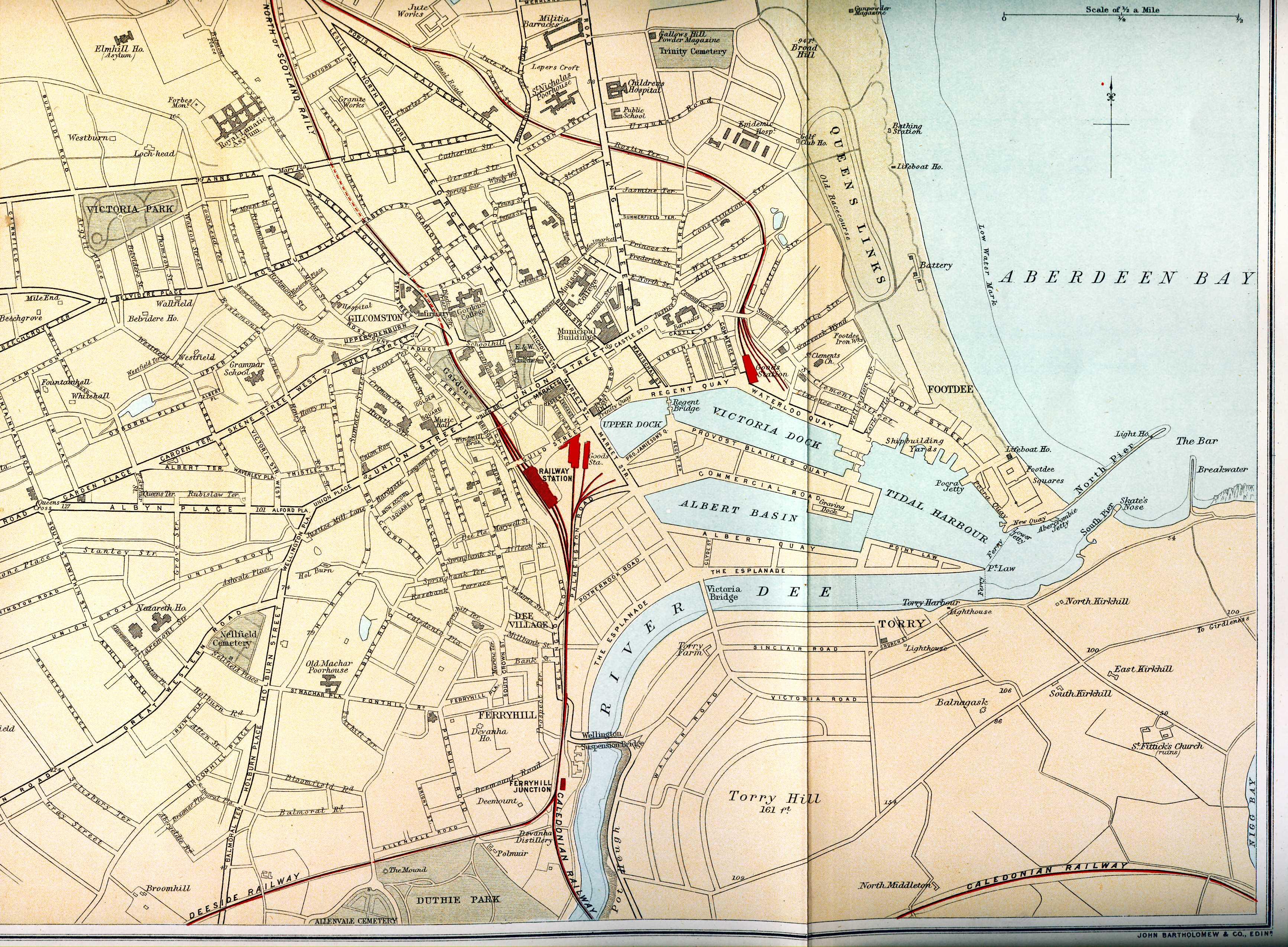 Ordnance Gazetteer of Scotland Plan of Aberdeen Map
