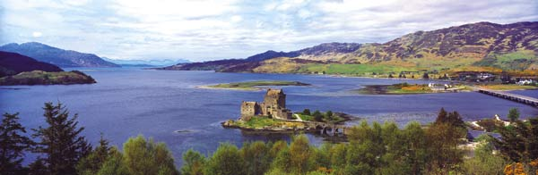 Eilean Donan Castle. Links to Clan MacKenzie, MacRae, & Matheson.