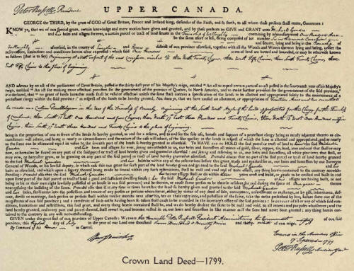 Crown Land Deed 1799