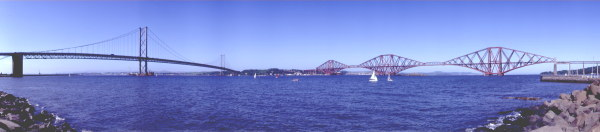 A 180 degree photograph of the Forth Bridges.The Forth Railway Bridge is a World Herritage Site.